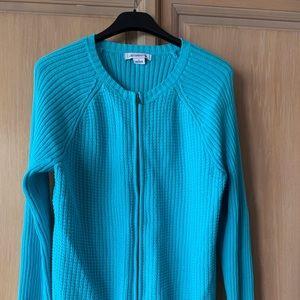 Liz Claiborne Zip Front Cable Knit Cardigan Sz L
